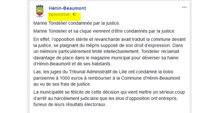 Diversion – Manipulation – Intimidation : lettre ouverte aux habitants d'Hénin-Beaumont
